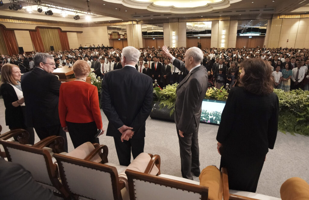 President Russell M. Nelson of The Church of Jesus Christ of Latter-day Saints, and his wife, Sister Wendy Nelson, and Elder D. Todd Christofferson of The Church of Jesus Christ of Latter-day Saints' Quorum of the Twelve Apostles and his wife, Sister Sister Kathy Christofferson, enter a devotional in Jakarta, Indonesia, on Nov. 21, 2019.