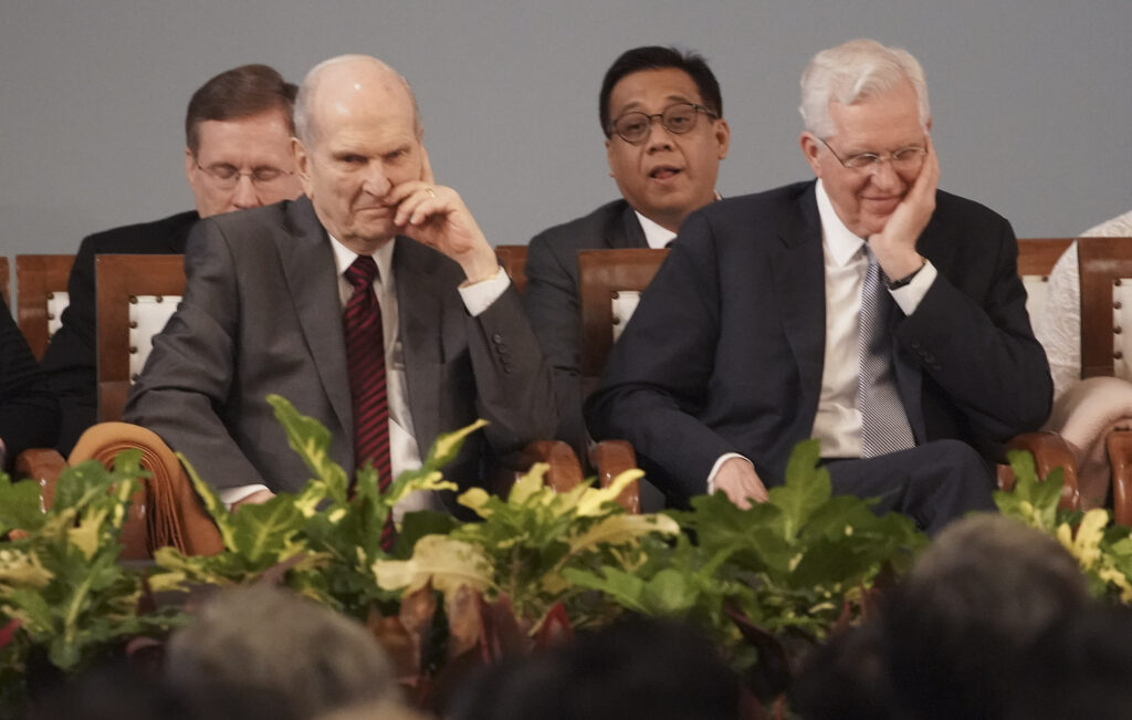 President Russell M. Nelson of The Church of Jesus Christ of Latter-day Saints and Elder D. Todd Christofferson of The Church of Jesus Christ of Latter-day Saints' Quorum of the Twelve Apostles listen during a devotional in Jakarta, Indonesia, on Nov. 21, 2019.