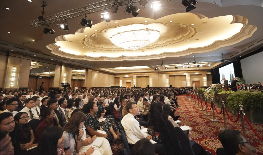 President Russell M. Nelson of The Church of Jesus Christ of Latter-day Saints speaks during a devotional in Jakarta, Indonesia, on Nov. 21, 2019.