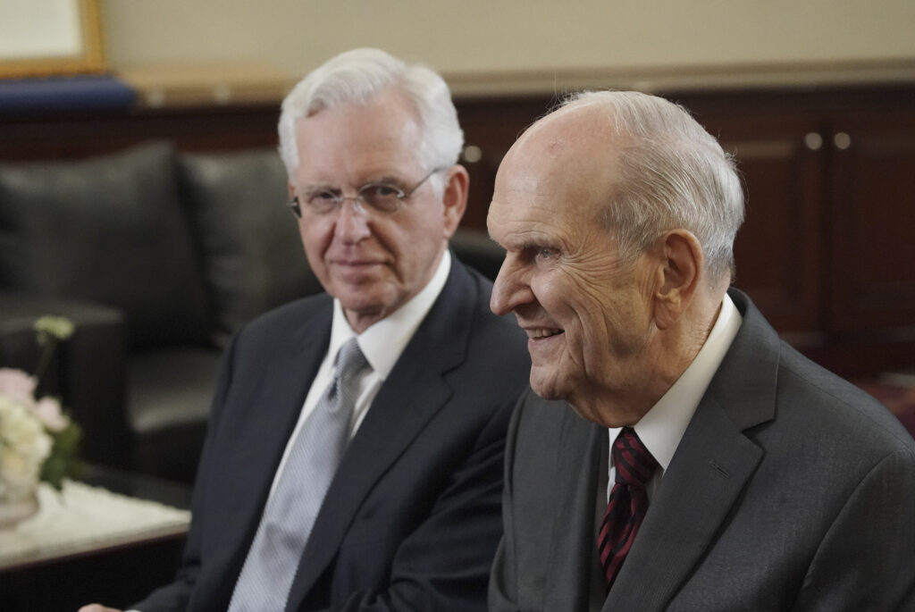President Russell M. Nelson of The Church of Jesus Christ of Latter-day Saints and Elder D. Todd Christofferson of The Church of Jesus Christ of Latter-day Saints' Quorum of the Twelve Apostles are interviewed in Jakarta, Indonesia, on Nov. 21, 2019.