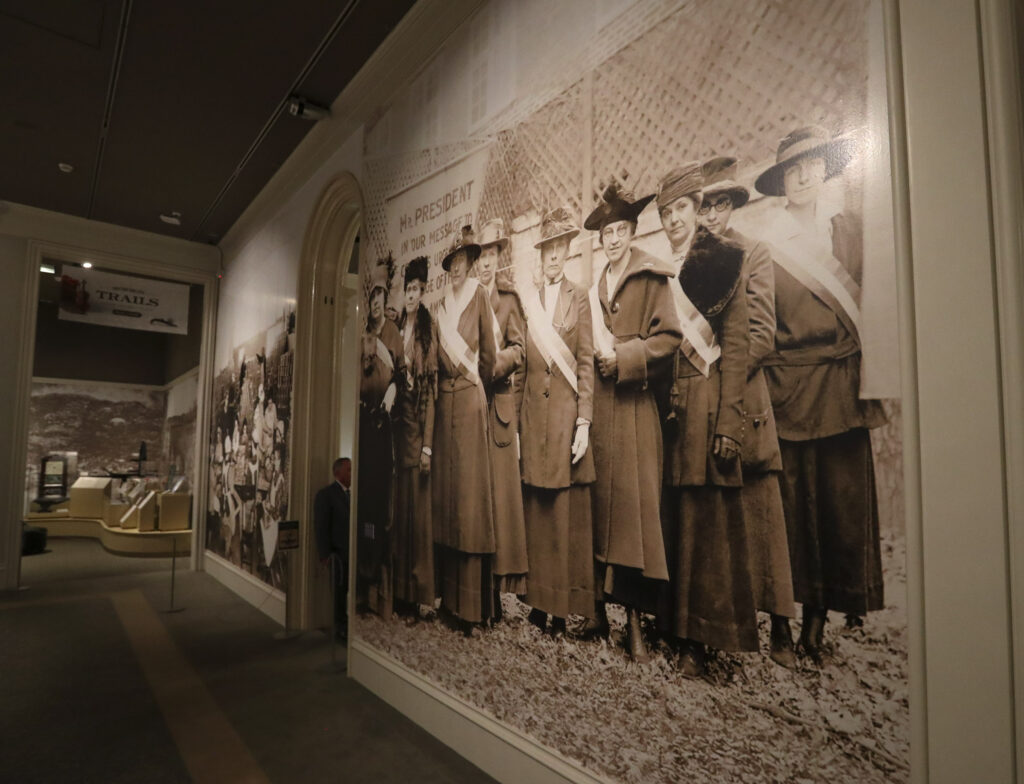 "Large photographs mark the entrance to the Church History Museum's new exhibit ""Sisters for Suffrage: How Utah Women Won the Vote"" in Salt Lake City on Thursday, Nov. 21, 2019."