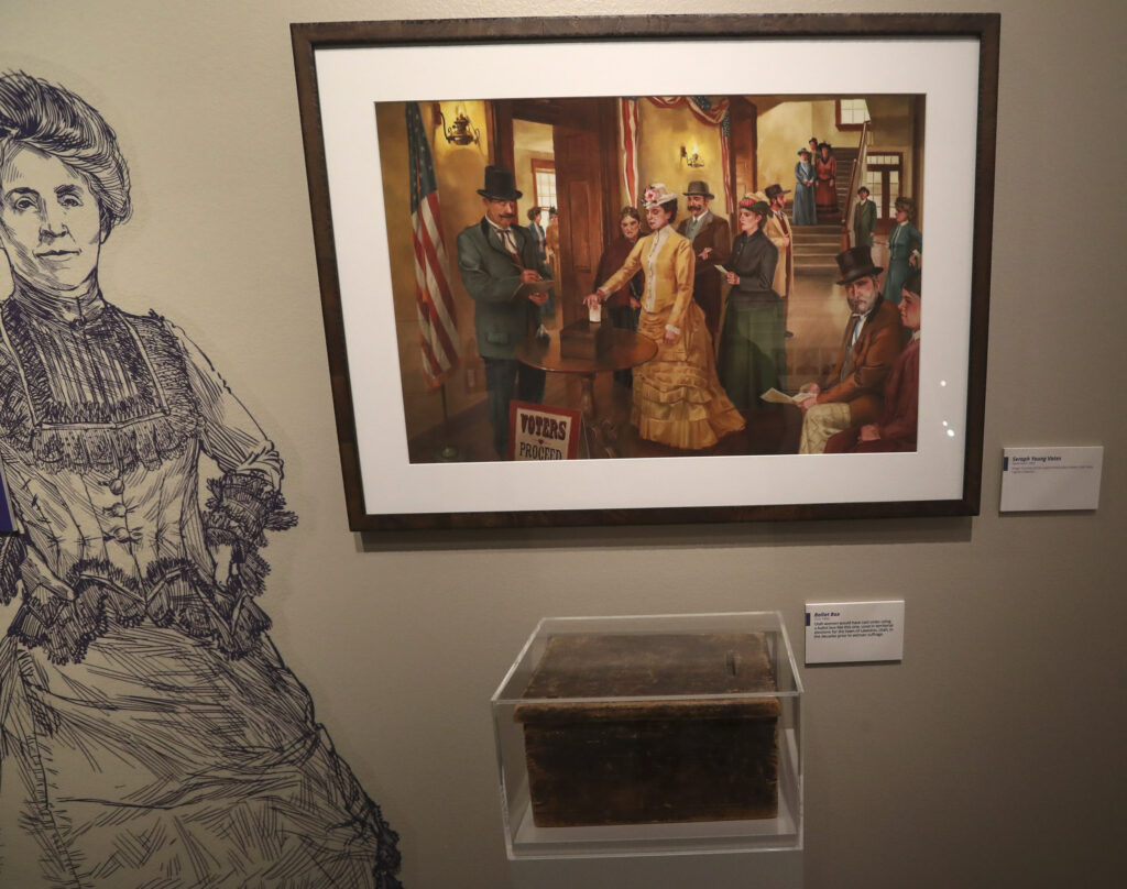"""A vintage ballot box is displayed as part of the Church History Museum's new exhibit """"Sisters for Suffrage: How Utah Women Won the Vote"""" in Salt Lake City on Thursday, Nov. 21, 2019."""