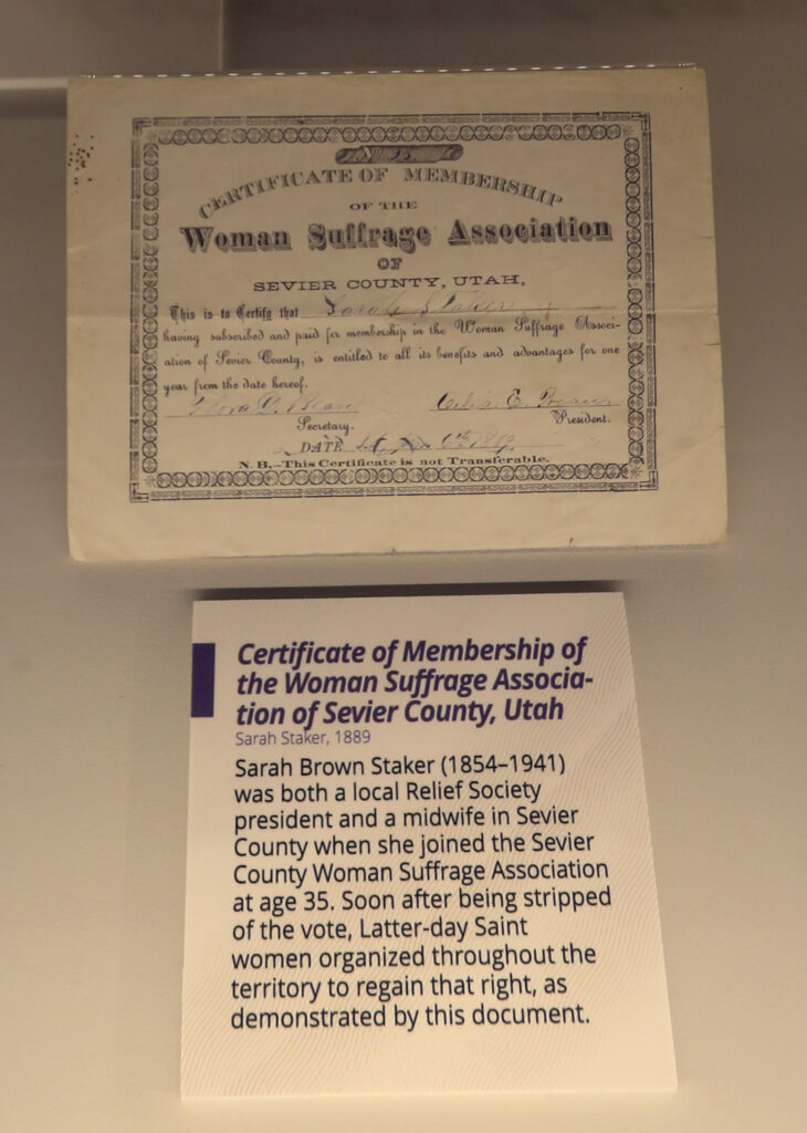 "A Women's Suffrage Association certificate of membership is displayed as part the Church History Museum's new exhibit ""Sisters for Suffrage: How Utah Women Won the Vote"" in Salt Lake City on Thursday, Nov. 21, 2019."