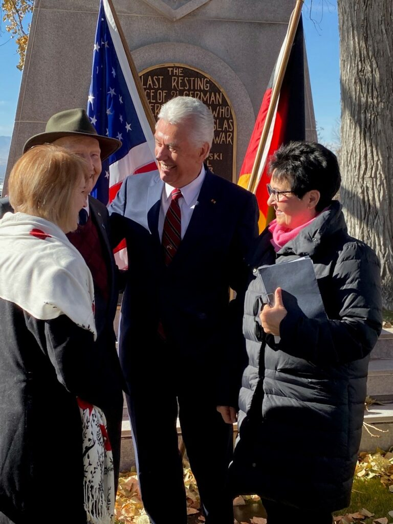 Elder Dieter F. Uchtdorf of the Quorum of the Twelve Apostles and his wife, Sister Harriet Uchtdorf, greet Gail Halvorsen following a Volkstrauertag commemoration event held in Fort Douglas Military Cemetery in Salt Lake City on Sunday, Nov. 17, 2019.