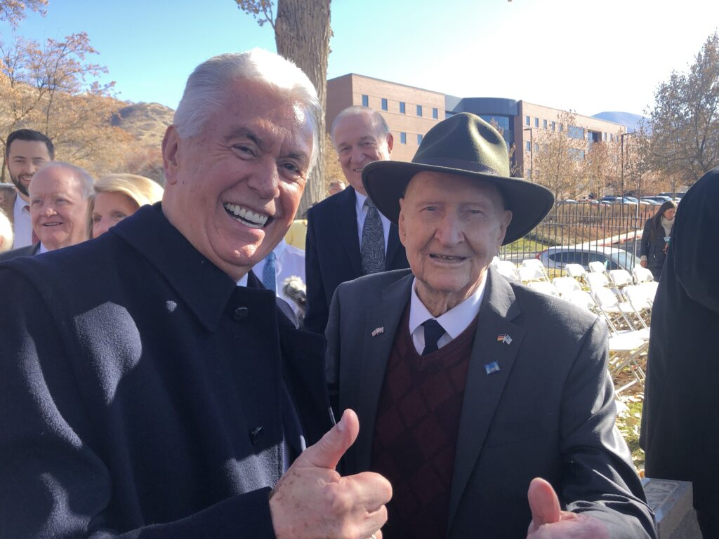 Elder Dieter F. Uchtdorf of the Quorum of the Twelve Apostles and 'Candy Bomber' Gail Halvorsen pose for a photo following a Volkstrauertag commemoration event held in Fort Douglas Military Cemetery in Salt Lake City on Sunday, Nov. 17, 2019.