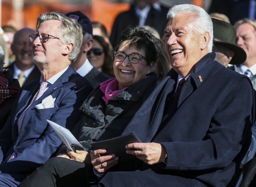 Elder Dieter F. Uchtdorf of the Quorum of the Twelve Apostles of The Church of Jesus Christ of Latter-day Saints, right, his wife Sister Harriet Uchtdorf, center, and Stefan Schneider, Consul General of the Federal Republic of Germany, listen to a speaker during the Volkstrauertag ceremony at the Fort Douglas Military Cemetery in Salt Lake City on Sunday, Nov. 17, 2019. Volkstrauertag is the German National Day of Remembrance where the German people honor those that have fallen in the line of duty, as well as those that were victims of the government. Fort Douglas Military Cemetery is the final resting place of several German prisoners of war that never made it back to Germany.