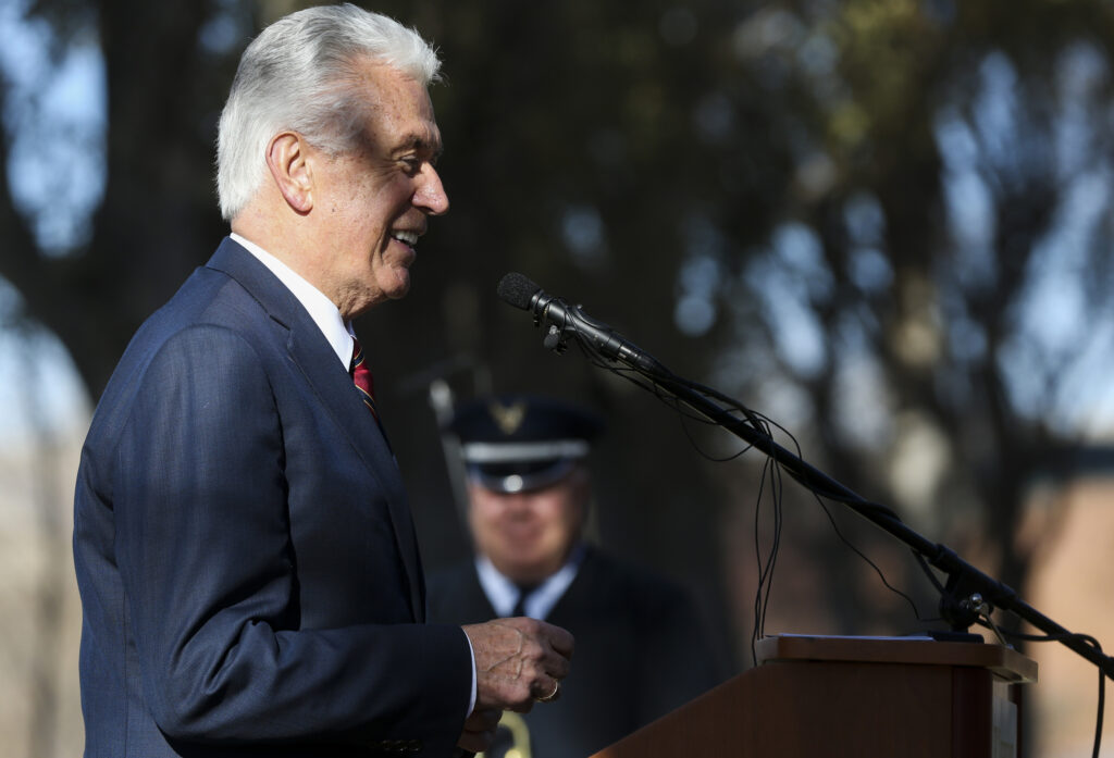 Elder Dieter F. Uchtdorf of the Quorum of the Twelve Apostles of The Church of Jesus Christ of Latter-day Saints speaks during the Volkstrauertag ceremony at the Fort Douglas Military Cemetery in Salt Lake City on Sunday, Nov. 17, 2019. Volkstrauertag is the German National Day of Remembrance where the German people honor those that have fallen in the line of duty, as well as those that were victims of the government. Fort Douglas Military Cemetery is the final resting place of several German prisoners of war that never made it back to Germany.