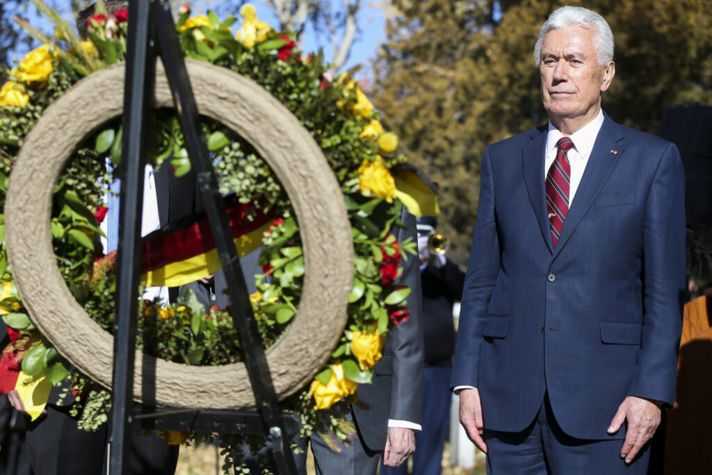 Elder Dieter F. Uchtdorf of the Quorum of the Twelve Apostles of The Church of Jesus Christ of Latter-day Saints participates in the ceremonial wreath laying during the Volkstrauertag ceremony at the Fort Douglas Military Cemetery in Salt Lake City on Sunday, Nov. 17, 2019. Volkstrauertag is the German National Day of Remembrance where the German people honor those that have fallen in the line of duty, as well as those that were victims of the government. Fort Douglas Military Cemetery is the final resting place of several German prisoners of war that never made it back to Germany.