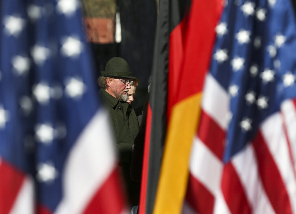 """A member of the German Chorus Harmonie sings """"Schonster Herr Jesu"""" with the rest of the chorus during the Volkstrauertag ceremony at the Fort Douglas Military Cemetery in Salt Lake City on Sunday, Nov. 17, 2019. Volkstrauertag is the German National Day of Remembrance where the German people honor those that have fall in the line of duty as well as those that were victims of the government. Fort Douglas Military Cemetery is the final resting place of several German prisoners of war that never made it back to Germany."""