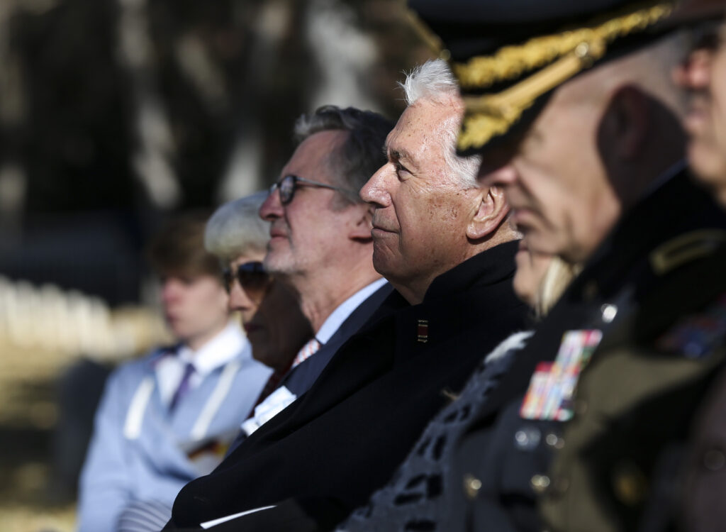 Elder Dieter F. Uchtdorf, of the Quorum of the Twelve Apostles of The Church of Jesus Christ of Latter-day Saints, listens to speeches during the Volkstrauertag ceremony at the Fort Douglas Military Cemetery in Salt Lake City on Sunday, Nov. 17, 2019. Volkstrauertag is the German National Day of Remembrance where the German people honor those that have fall in the line of duty as well as those that were victims of the government. Fort Douglas Military Cemetery is the final resting place of several German prisoners of war that never made it back to Germany.