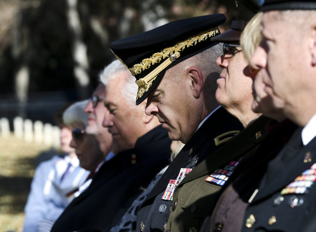 Brig. Gen. Michael Turley listens to speeches during the Volkstrauertag ceremony at the Fort Douglas Military Cemetery in Salt Lake City on Sunday, Nov. 17, 2019. Volkstrauertag is the German National Day of Remembrance where the German people honor those that have fall in the line of duty as well as those that were victims of the government. Fort Douglas Military Cemetery is the final resting place of several German prisoners of war that never made it back to Germany.