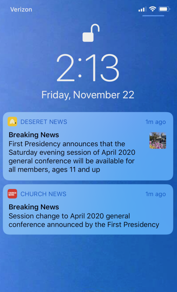 The first Church News app was sent Friday, Nov. 22. App users who didn't receive the notification either need to enable notifications or see if they are using an older version that needs to be updated.