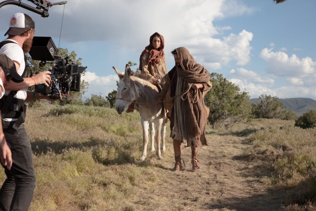 "A behind the scenes look at the filming of ""The Christ Child"" shows Mary and Joseph as they journey to Bethlehem."