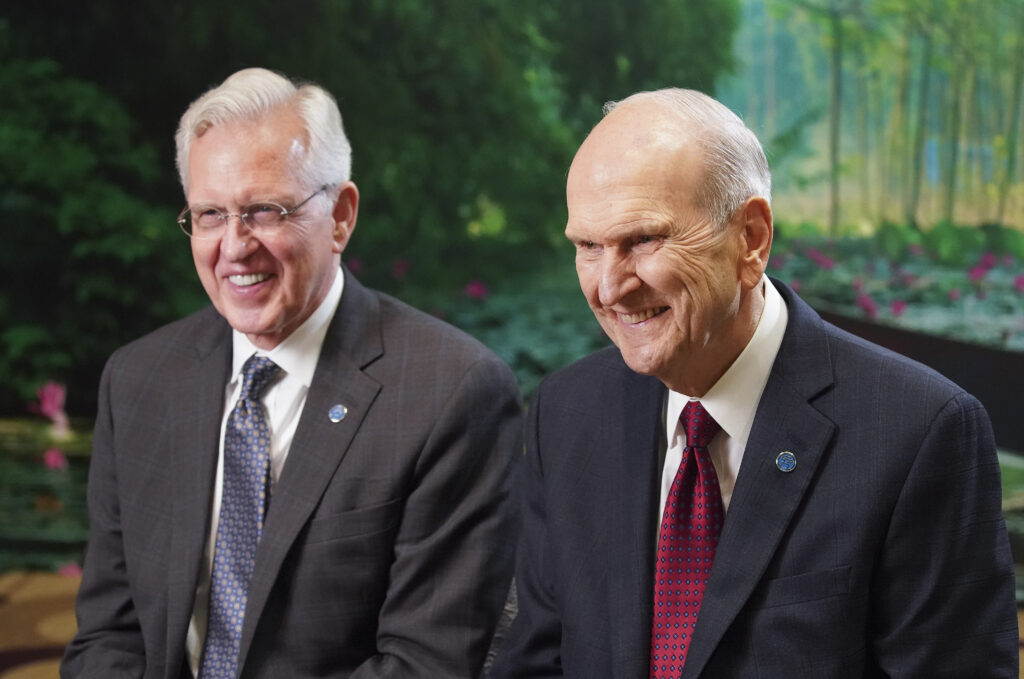 President Russell M. Nelson of The Church of Jesus Christ of Latter-day Saints, and Elder D. Todd Christofferson of the Quorum of the Twelve Apostles, laugh during a media interview in Hanoi, Vietnam, on Sunday, Nov. 17, 2019.