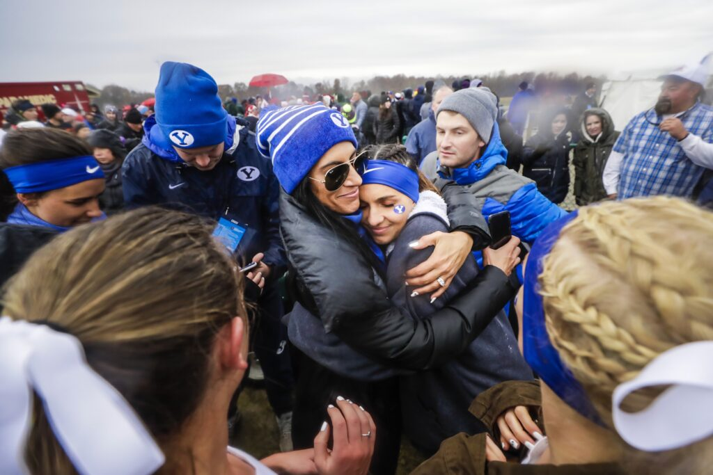 BYU women's cross country coach Diljeet Taylor embraces Whittni Orton at the Nov. 23, 2019, NCAA Championships in Indiana. The team placed second in the national championship.
