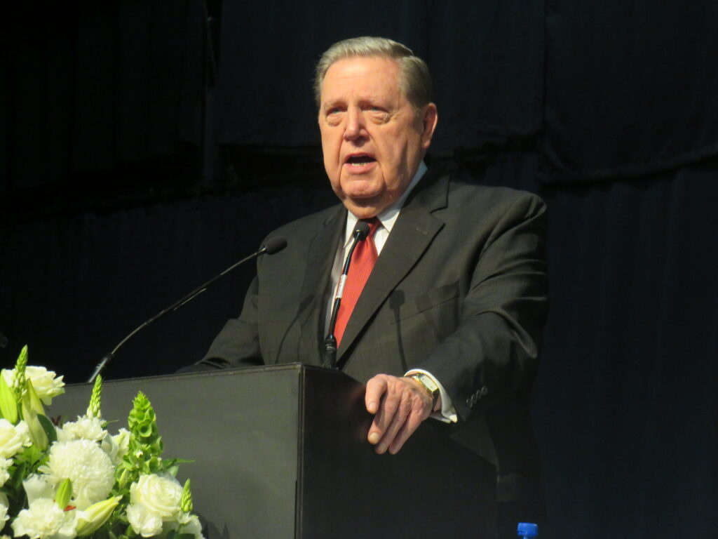 Elder Jeffrey R. Holland of the Quorum of the Twelve Apostles speaks during a multi-stake conference at the Gallagher Convention Center near Johannesburg, South Africa, on Sunday, Nov. 10, 2019.