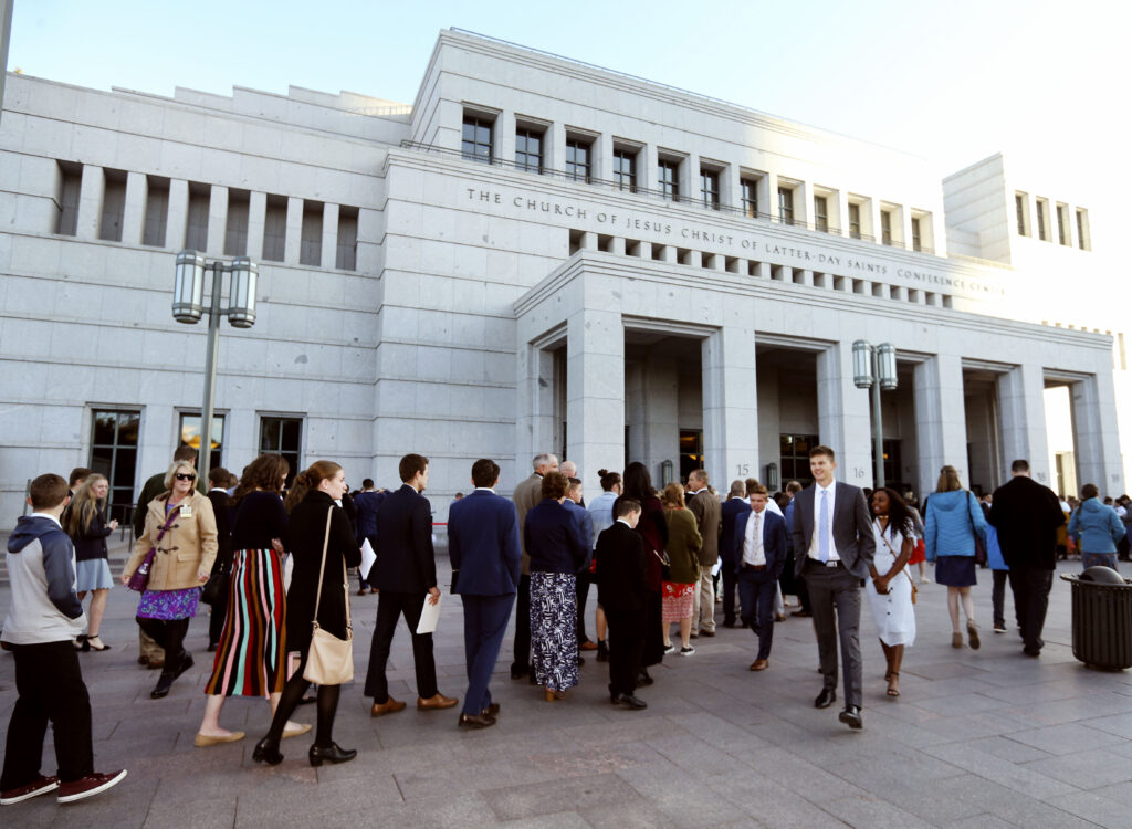 People enter the Conference Center for the Sunday morning session of the 189th Semiannual General Conference of The Church of Jesus Christ of Latter-day Saints in Salt Lake City on Sunday, Oct. 6, 2019.