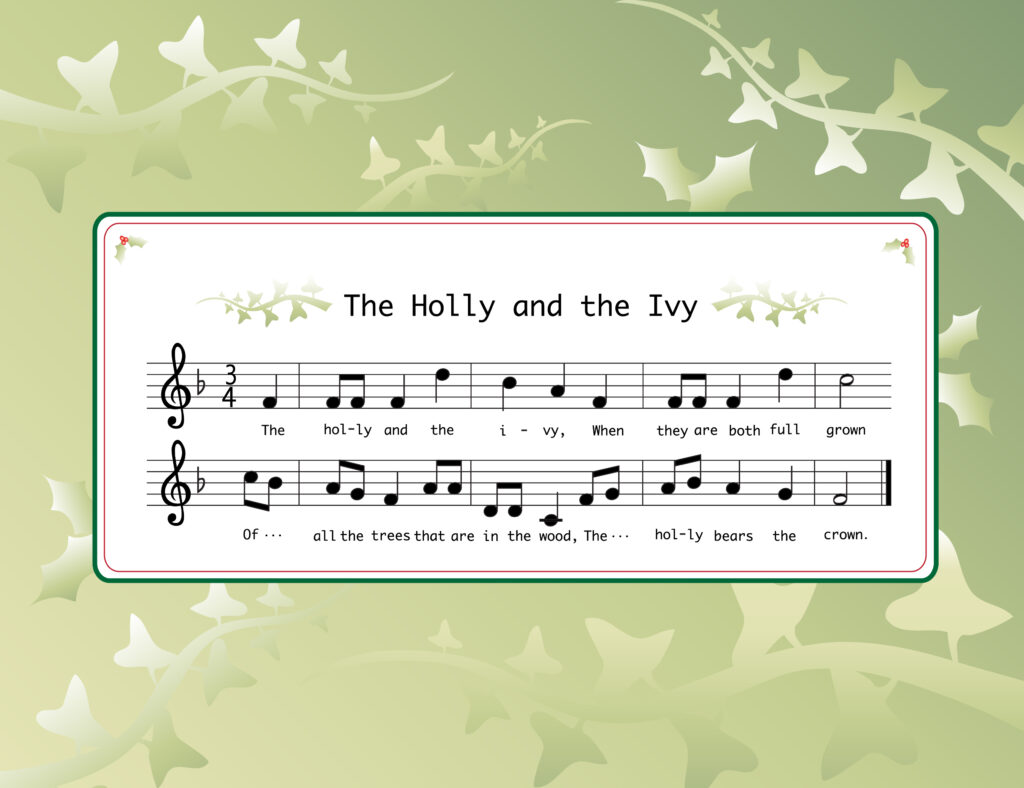 "Music for the Christmas carol ""The Holly and the Ivy."" Credit: Shutterstock"