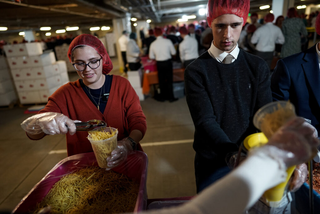 Thanksgiving service project at Provo MTC will help feed 140,000 families