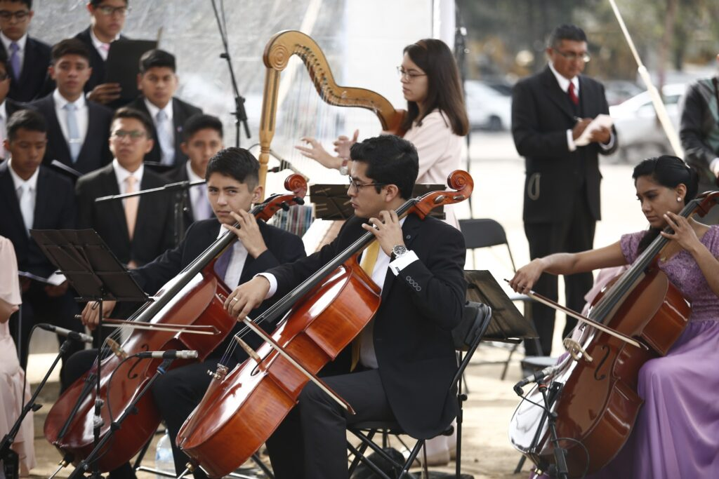 Latter-day Saint young people provide music for the groundbreaking of the Puebla Mexico Temple on Saturday, Nov. 30, 2019.