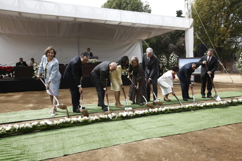 The Mexico Area Presidency and their wives dig the first shovel-full of dirt at the groundbreaking of the Puebla Mexico Temple on Saturday, Nov. 30, 2019.