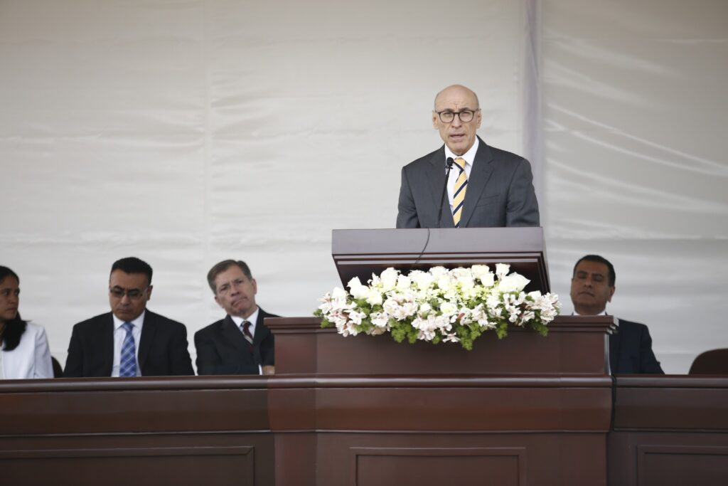 Elder Arnulfo Valenzuela, Mexico Area president, speaks to Latter-day Saints who have gathered to participate in the groundbreaking of the Puebla Mexico Temple on Saturday, Nov. 30, 2019.