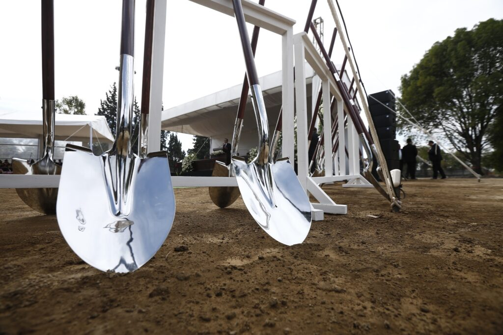 Shovels are lined up for the groundbreaking of the Puebla Mexico Temple on Saturday, Nov. 30, 2019.