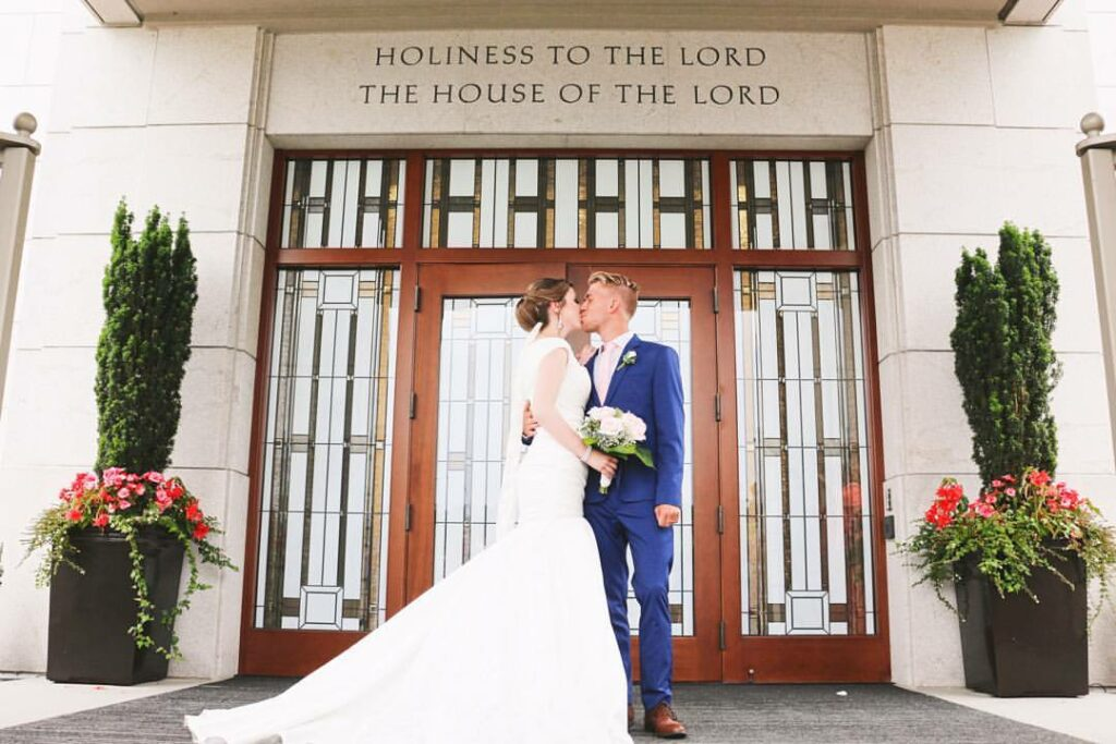 Brayden and Laura Faganello on their wedding day at the Vancouver British Columbia Temple on July 14, 2016.