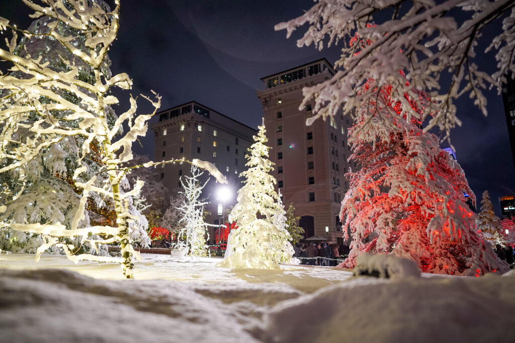 Snow-covered trees are illuminated on the first night of the annual Christmas lights display at Temple Square in Salt Lake City on Friday, Nov. 29, 2019.
