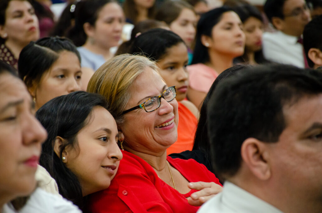Members listen during a leadership training with Sister Reyna I. Aburto in Guayaquil, Ecuador, during her visit to the South America Northwest Area of the Church in November 2019.
