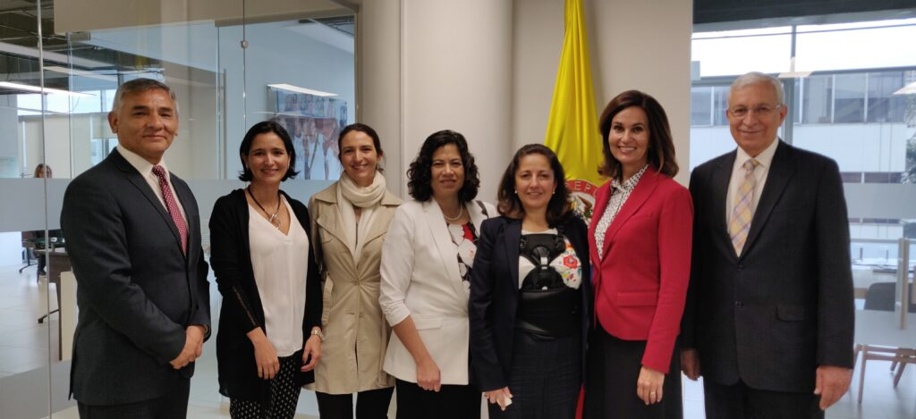 From left to right: Moroni Torres, Welfare and Self-Reliance area manager; Julieta Ruiz, Colombian Inter-institutional Coordination Director for Colombia; Patricia Narvaez Cano, Colombian Migration Affairs Advisor; Sister Reyna I. Aburto, second counselor in the Relief Society general presidency; Angela Ospina de Nicholls, Colombian Presidential Agency of International Cooperation general director; Sister Lisa L. Harkness, first counselor in the Primary general presidency; and Elder Enrique R. Falabella, a General Authority and president of the South America Northwest Area. Church leaders met with government officials in Columbia in November 2019 to discuss the refugee crises in Venezuela and how the Church can help aid the Colombian government in its efforts to support refugees coming to the country.