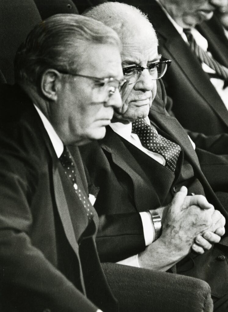 Arthur Haycock is photographed with President Spencer W. Kimball on Oct. 6, 1985.