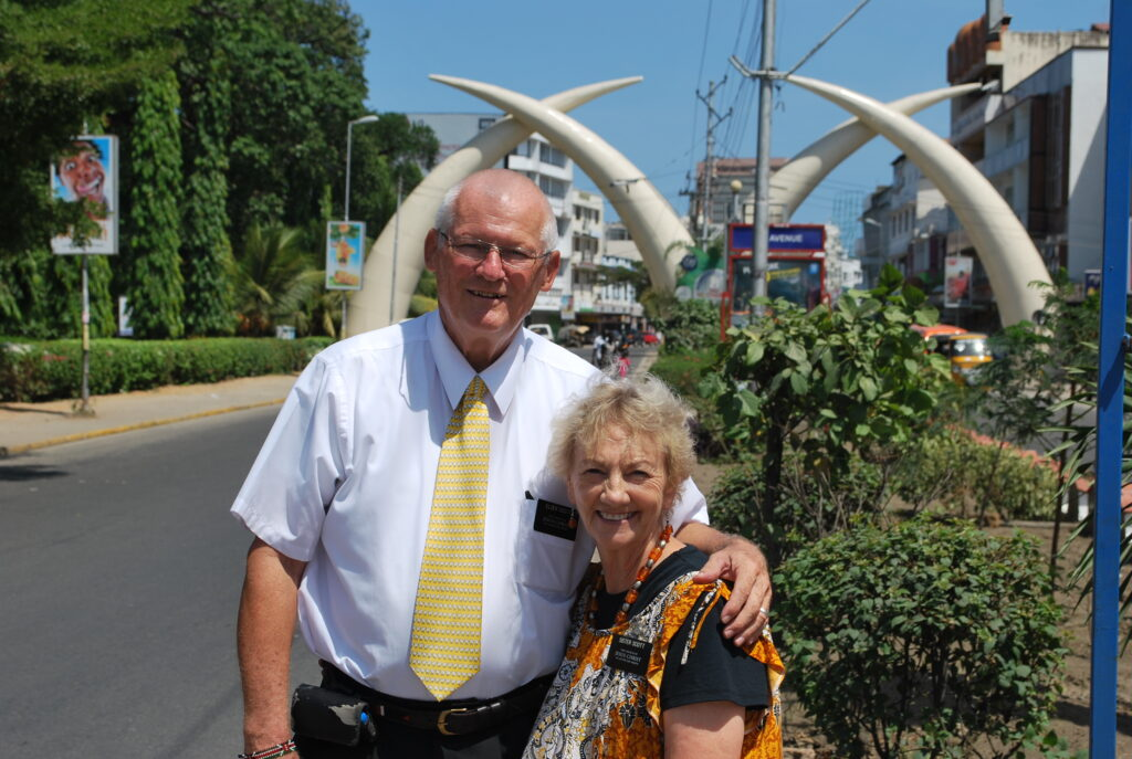 Elder Clair Scott and Sister Verlene Scott pose for a photo while serving a senior mission in Kenya. Sister Scott used her medical expertise to serve the mission.