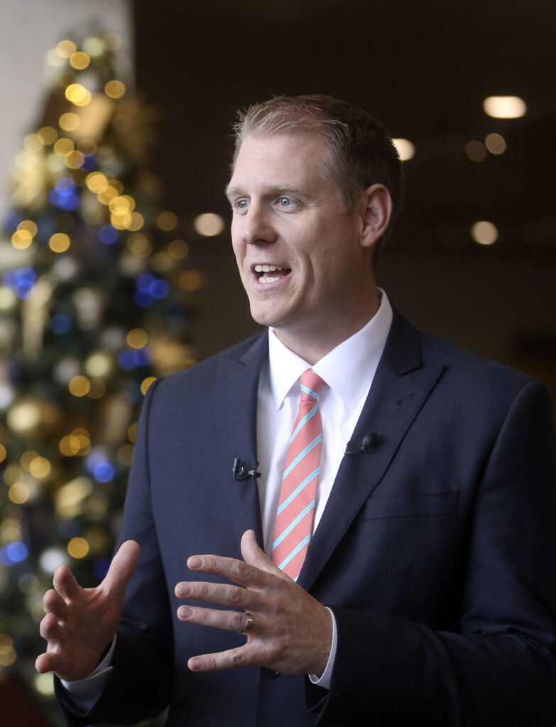 Rich Sutton, Temple area director, talks about the upcoming Salt Lake Temple renovations during a press conference at the Temple Square South Visitors Center in Salt Lake City on Wednesday, Dec. 4, 2019.
