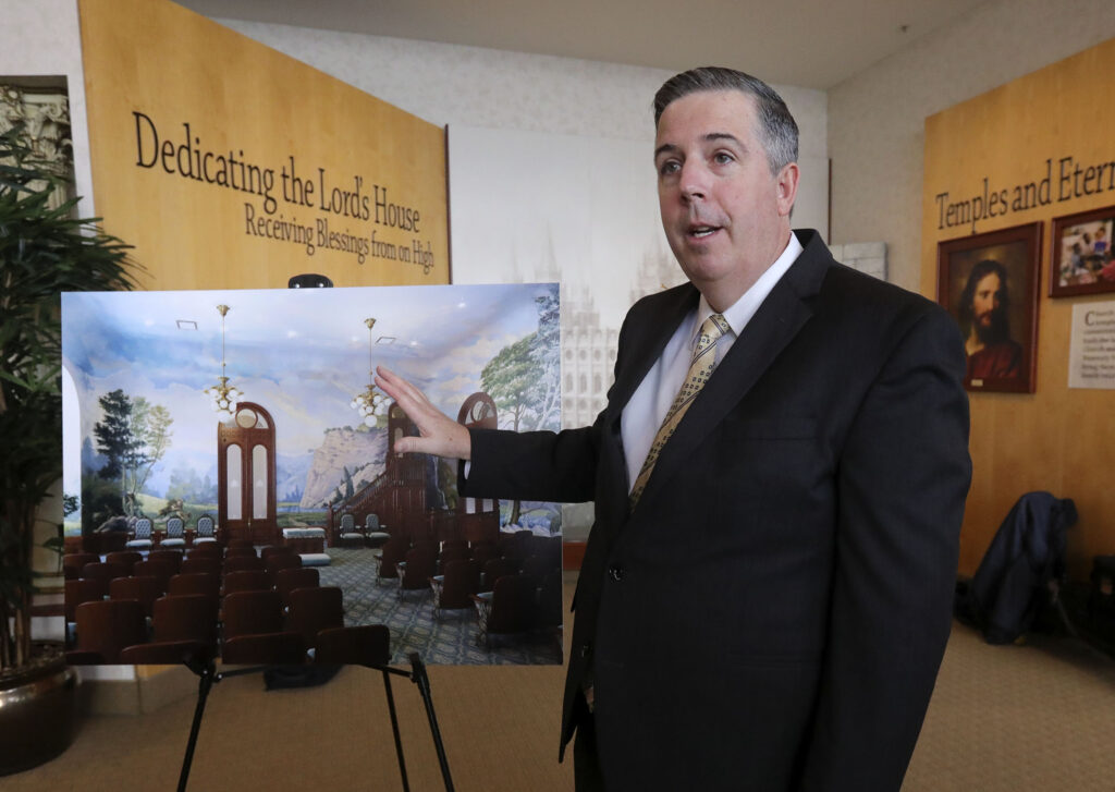 Andy Kirby, Church of Jesus Christ of Latter-day Saints Special Projects Department director of historic temple renovations, shows a rendition of what the Salt Lake Temple world room will look like after future restorations, at the Temple Square South Visitors Center in Salt Lake City on Wednesday, Dec. 4, 2019.