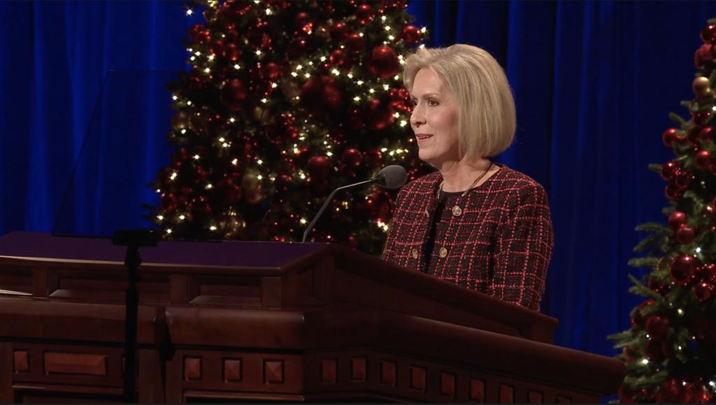 Sister Joy D. Jones speaks during the First Presidency Christmas Devotional in the Conference Center in Salt Lake City on Sunday, Dec. 8, 2019.