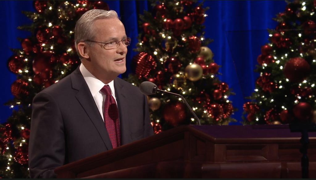 Elder Patrick Kearon of the Presidency of the Seventy speaks during the First Presidency Christmas Devotional in the Conference Center in Salt Lake City on Sunday, Dec. 8, 2019.