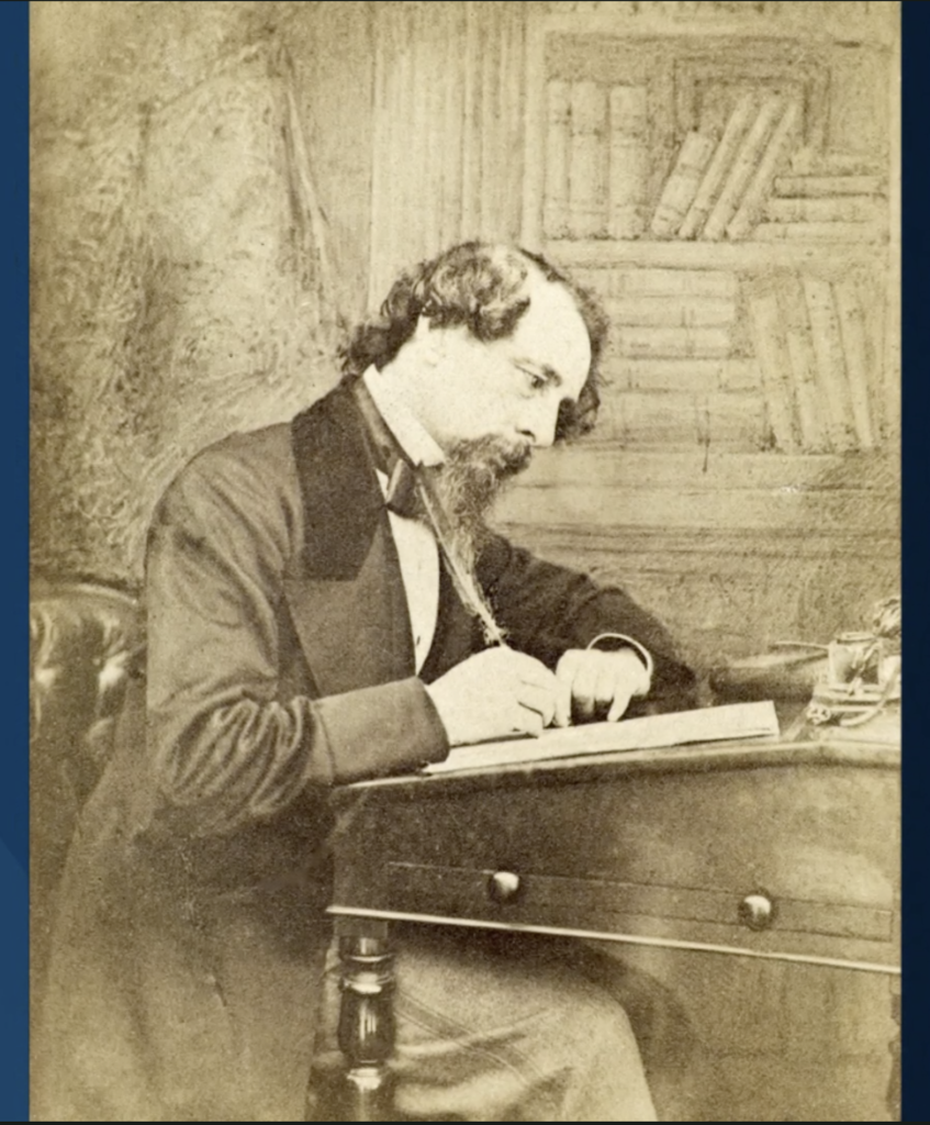 A photo of Charles Dickens that was shown during President Dallin H. Oaks' address during the First Presidency Christmas Devotional in the Conference Center in Salt Lake City on Sunday, Dec. 8, 2019.