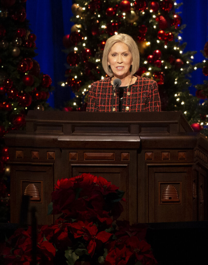 Sister Joy D. Jones, Primary general president, speaks at The First Presidency Christmas Devotional of The Church of Jesus Christ of Latter-day Saints at the Conference Center in Salt Lake City on Sunday, Dec. 8, 2019.