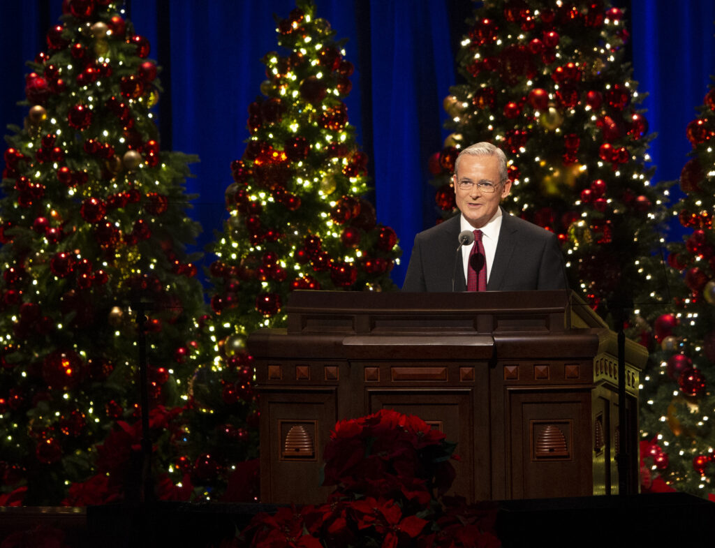 Elder Patrick Kearon, of the Presidency of the Seventy, speaks at the First Presidency Christmas Devotional of The Church of Jesus Christ of Latter-day Saints at the Conference Center in Salt Lake City on Sunday, Dec. 8, 2019.