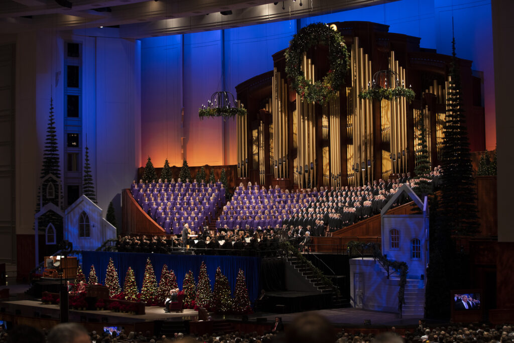 Members of the Tabernacle Choir and the Orchestra at Temple Square perform during the First Presidency Christmas Devotional of The Church of Jesus Christ of Latter-day Saints at the Conference Center in Salt Lake City on Sunday, Dec. 8, 2019.