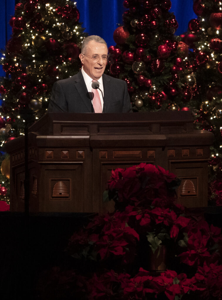 Elder Ulisses Soares of the Quorum of the Twelve Apostles, speaks at the First Presidency Christmas Devotional of The Church of Jesus Christ of Latter-day Saints at the Conference Center in Salt Lake City on Sunday, Dec. 8, 2019.