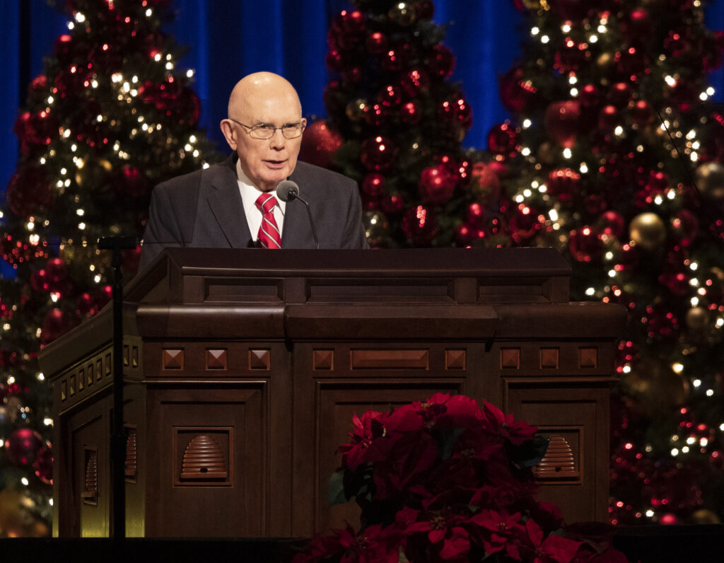 President Dallin H. Oaks, first counselor in the First Presidency, speaks at the First Presidency Christmas Devotional of The Church of Jesus Christ of Latter-day Saints at the Conference Center in Salt Lake City on Sunday, Dec. 8, 2019.