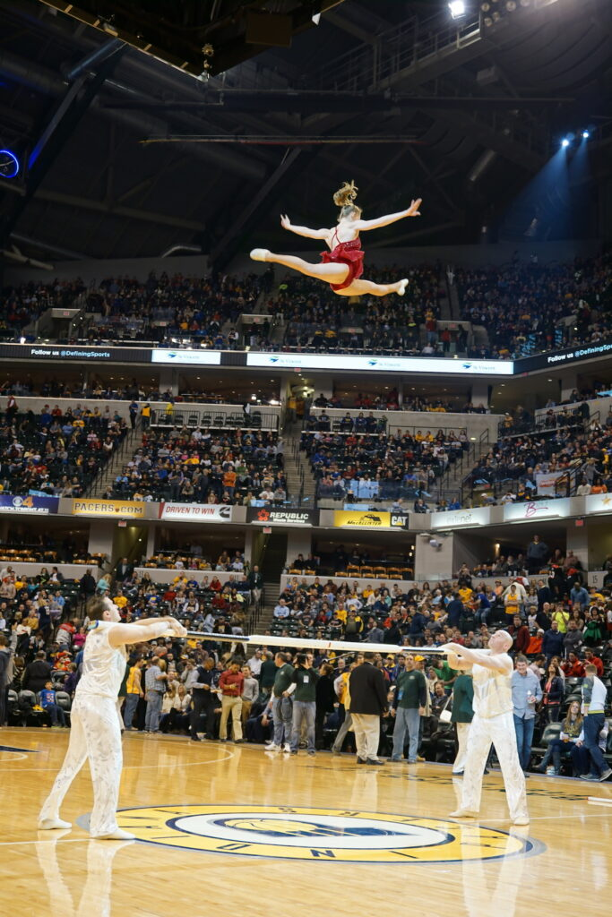 The Sandou Trio performs the Russian Bar act during an Indiana Pacers halftime show.