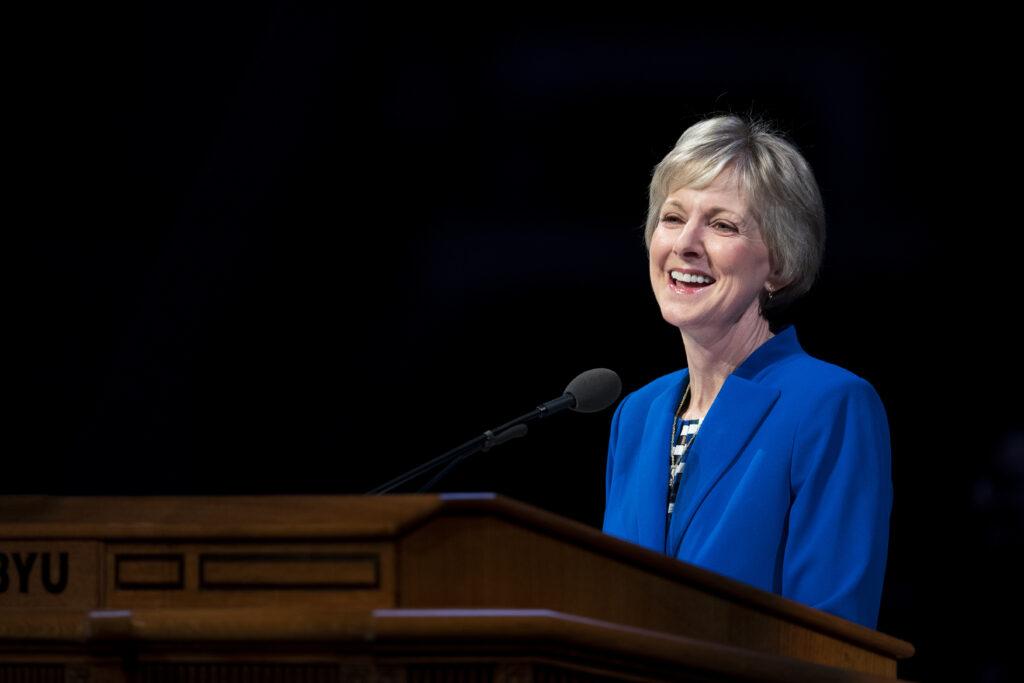 Sister Jean B. Bingham speaksat a BYU campus devotional in the Marriott Center in Provo, Utah on Dec. 10, 2019.