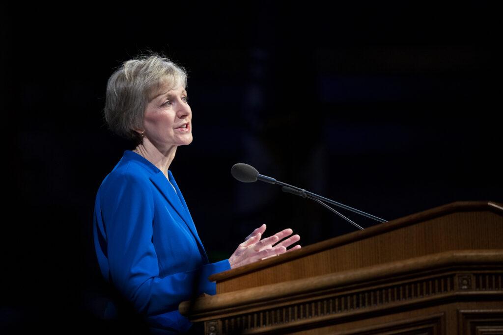 Sister Jean B. Bingham speaks at a BYU campus devotional in the Marriott Center in Provo, Utah on Dec. 10, 2019.