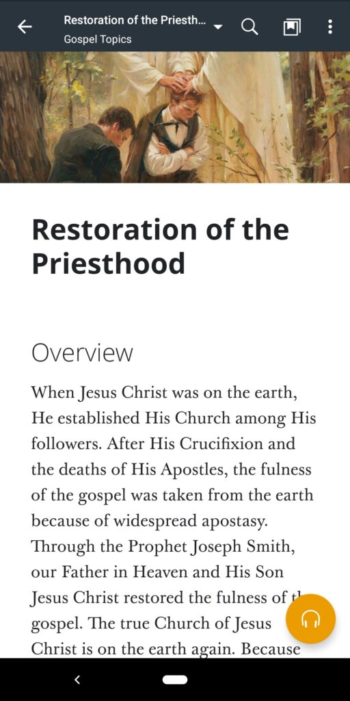 """A screenshot of the """"Restoration of the Priesthood"""" topic in the Gospel Library app."""