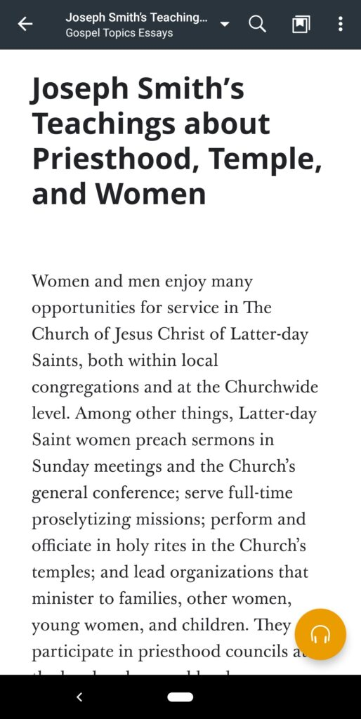"""A screenshot of the Gospel Topics Essay, """"Joseph Smith's Teachings about Priesthood, Temple, and Women"""" in the Gospel Library app."""