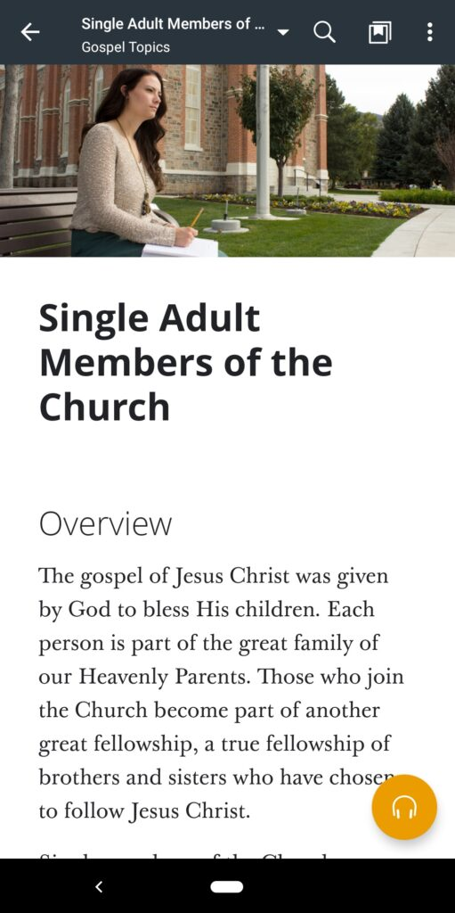 """A screenshot of the """"Single Adult Members of the Church"""" topic in the Gospel Library app."""