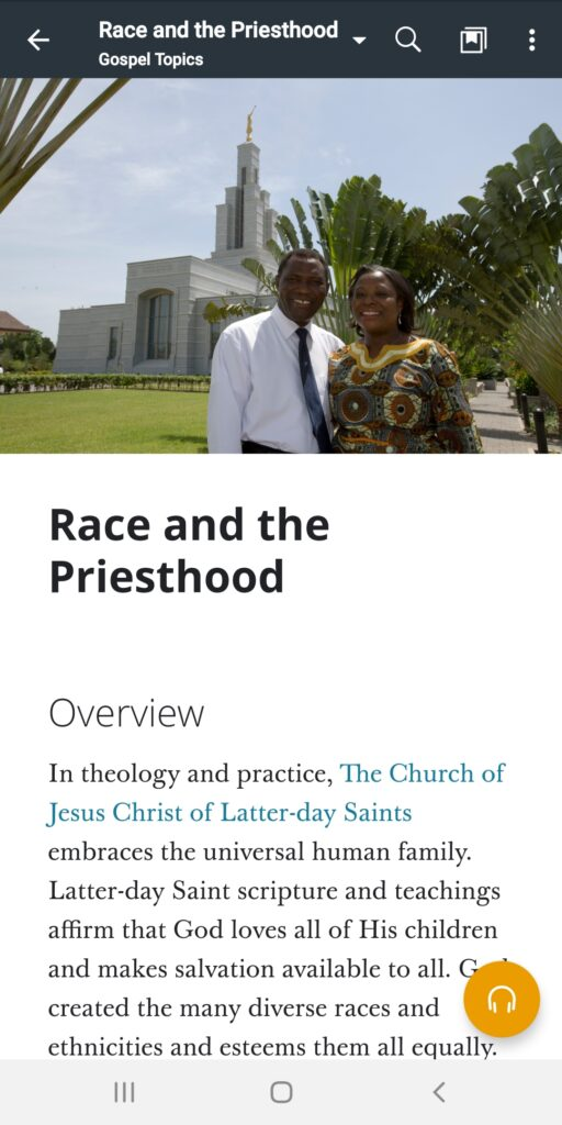 """A screenshot of the """"Race and the Priesthood"""" topic in the Gospel Library app."""